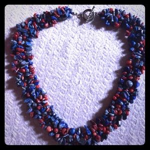 Natural Lapis Lazuli & Red Coral Woven Necklace